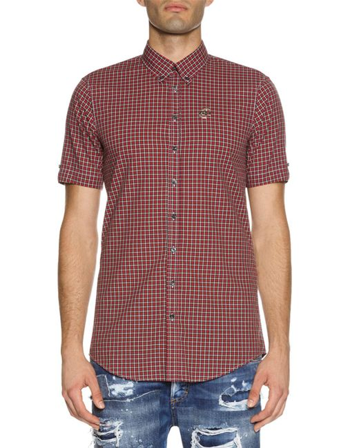 DSquared² | Red Check Short-sleeve Woven Shirt for Men | Lyst