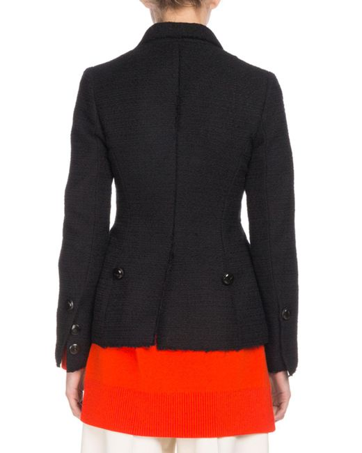a9d73906738693 ... Proenza Schouler - Black Asymmetric Button-front Cotton Tweed Jacket -  Lyst