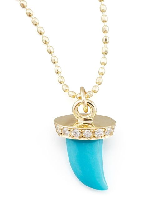 Sydney Evan - Metallic Small Diamond & Turquoise Horn Necklace - Lyst