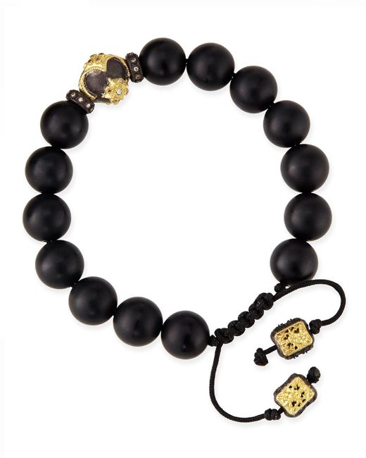 Armenta - Black Onyx Bead Bracelet With 18k Gold Detail - Lyst