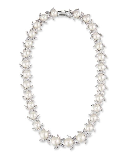 Fallon - Metallic Monarch Crystal & Pearly Bead Choker Necklace - Lyst