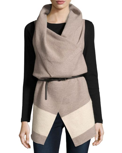 Joie | Multicolor Ligere Colorblock Belted Wool Vest | Lyst