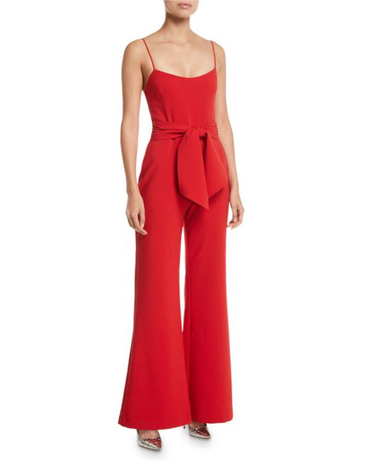 0e5633b41bff Likely - Red Genevieve Wide-leg Tie-front Jumpsuit - Lyst ...