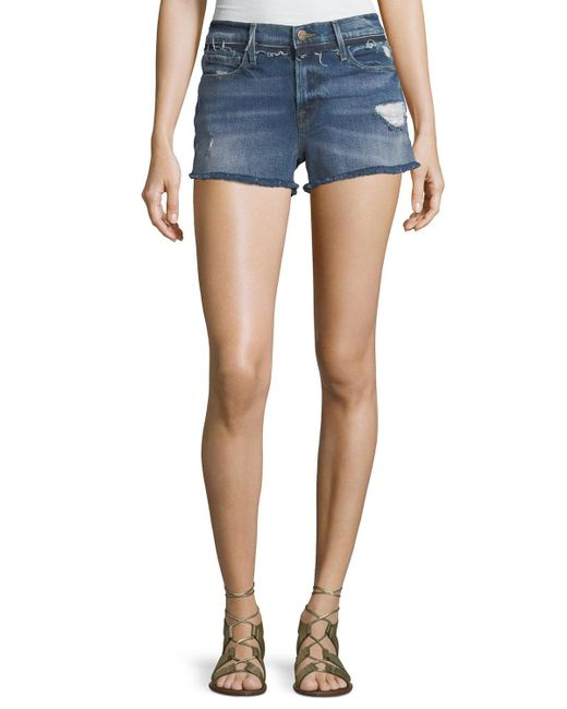 FRAME - Blue Le Cutoff Denim Shorts With Released Waistband - Lyst