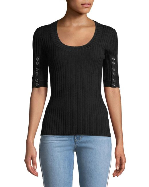3.1 Phillip Lim - Black Ribbed 3/4-sleeve Sweater W/ Button Details - Lyst