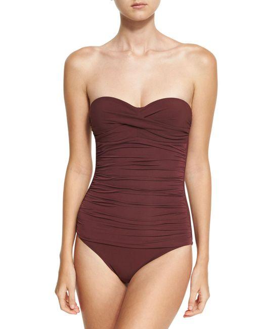 Heidi Klein | Purple Body Ruched Control Bandeau One-piece Swimsuit | Lyst