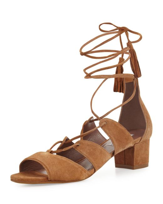 Tabitha Simmons | Brown Isadora Suede Lace-up Sandal | Lyst