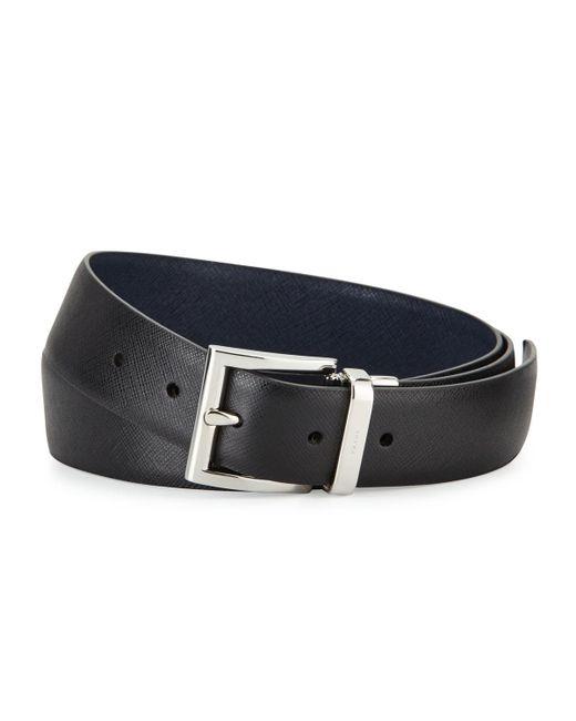 "Prada - Blue 1.3""w Reversible Saffiano Belt for Men - Lyst"