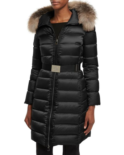 Moncler - Black Tinuviel Shiny Quilted Puffer Coat W/fur Hood - Lyst