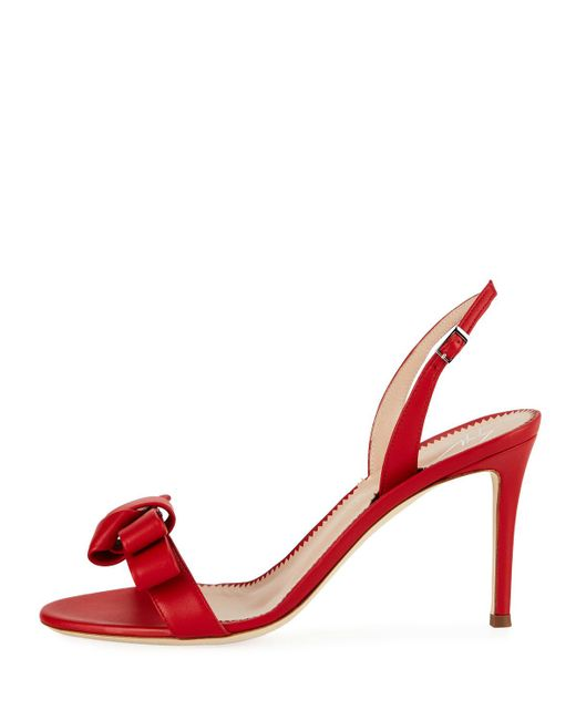 54bedf6327c Women's Red Bow Leather Strappy Sandals