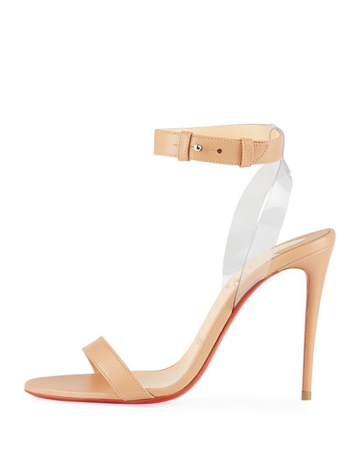 d5e226cbbaa6 ... Christian Louboutin - Natural Jonatina Illusion Ankle-strap Red Sole  Sandals - Lyst ...