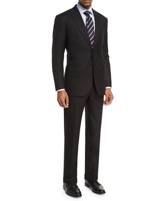Brioni Black Essential Virgin Wool Two-piece Suit for men