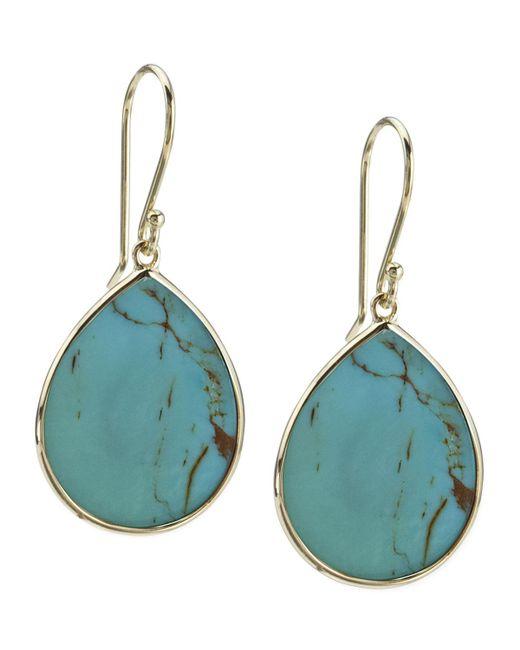 Ippolita   Blue 18k Small Teardrop Slice Earrings In Turquoise   Lyst