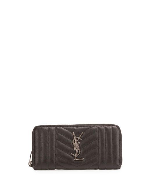 Saint Laurent | Black Zip Around Matelasse Wallet | Lyst
