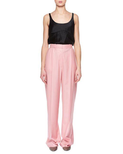 The Row - Pink Elin High-waist Wide-leg Wool Pants - Lyst