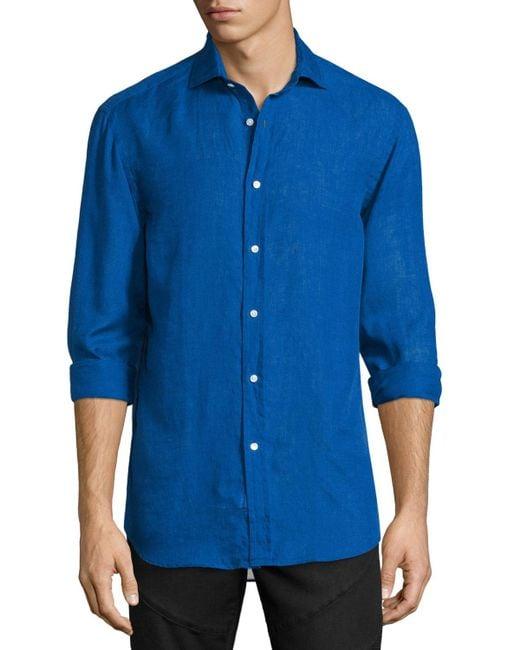Ralph Lauren | Blue Solid Linen/cotton Long-sleeve Sport Shirt for Men | Lyst
