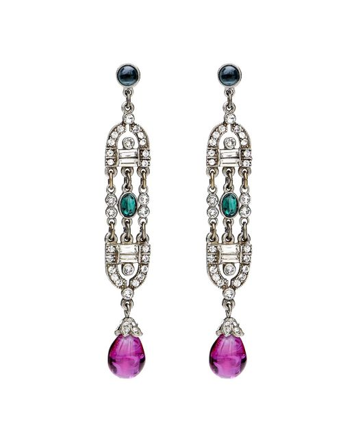 Ben-Amun - Multicolor Velvet Glamour Multi-color Deco Drop Post Earrings - Lyst