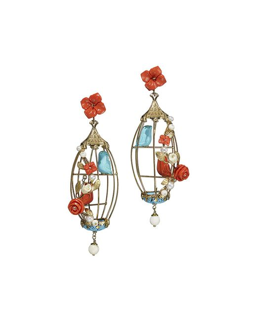 Of Rare Origin - Blue Aviary Coral & Turquoise Birdcage Earrings - Lyst
