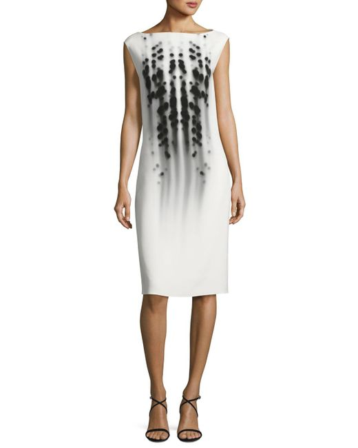 Narciso Rodriguez | White Dot-print Cap-sleeve Boat-neck Dress | Lyst