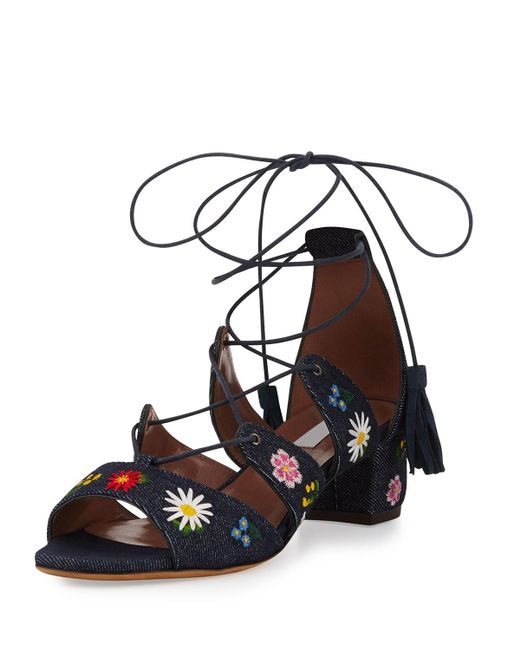 Tabitha Simmons | Blue Isadora Floral-embroidered Lace-up Sandal | Lyst