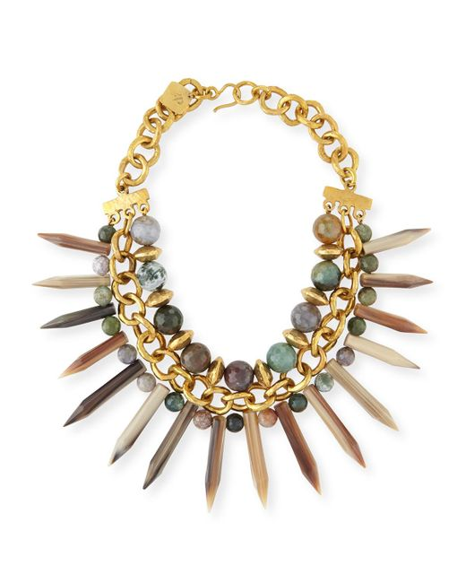Ashley Pittman | Metallic Kali Mixed Horn Beaded Spike Necklace | Lyst