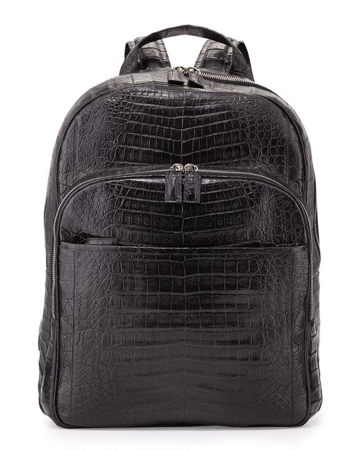 Santiago Gonzalez - Black Caiman Crocodile Backpack for Men - Lyst