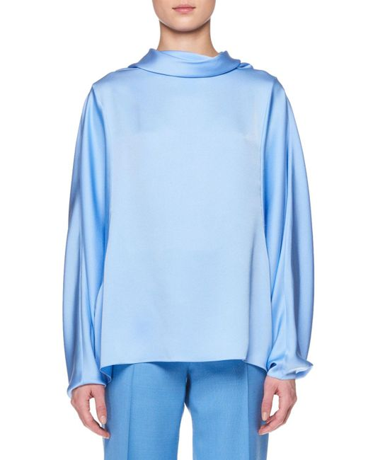 The Row - Blue Iona Long-sleeve Silk Top - Lyst
