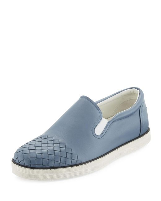 Bottega Veneta - Blue Woven-toe Leather Skate Shoe - Lyst