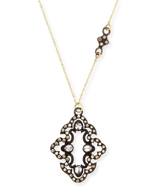 Armenta - Metallic Champagne Diamond Scroll Pendant Necklace - Lyst
