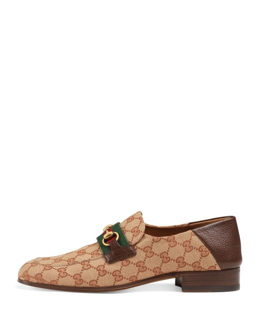 40c0b1e27ca ... Lyst Gucci - Natural Men s GG Canvas Horsebit Fold-down Loafers for Men  ...