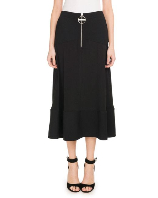 Givenchy - Black A-line Crepe De Chine Mid-calf Circle Skirt - Lyst