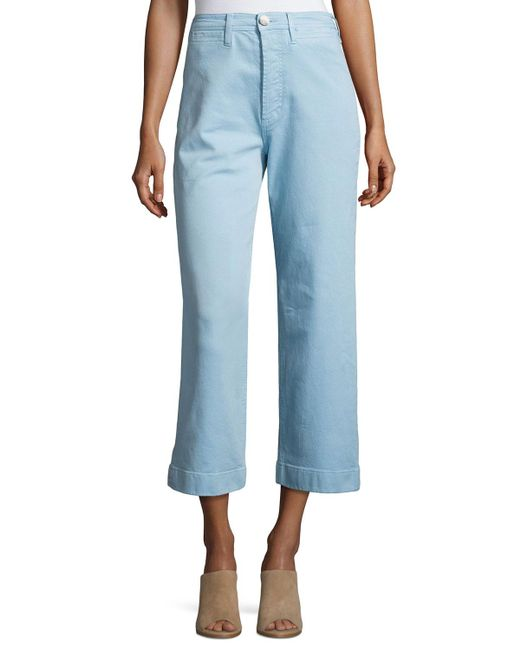 MiH Jeans - Blue Caron High-rise Cropped Wide Leg Pants - Lyst