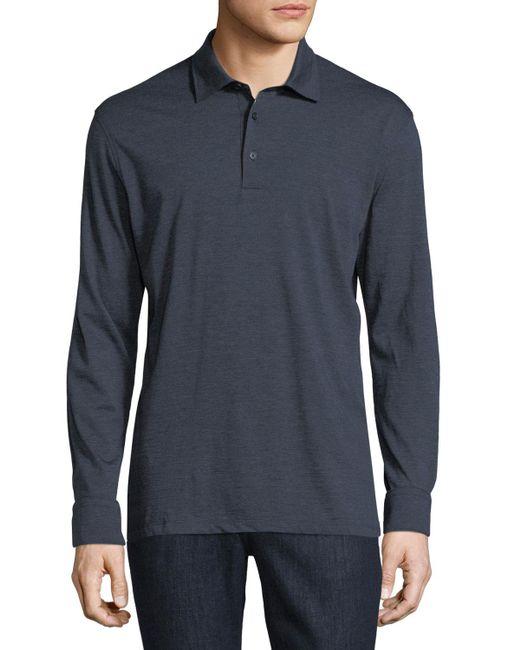 Ermenegildo Zegna | Blue Fine-stripe Long-sleeve Polo Shirt for Men | Lyst