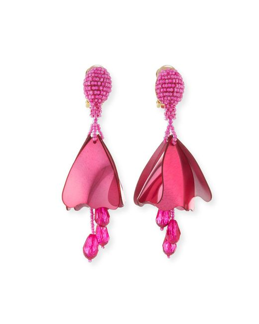 Oscar de la Renta - Pink Small Impatiens Beaded Clip-on Earrings - Lyst