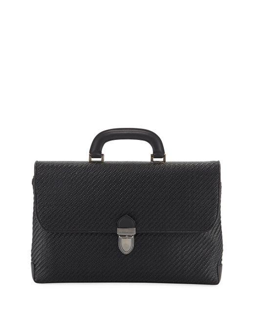 Ermenegildo Zegna - Black Pelle Tessuta Laptop Bag for Men - Lyst