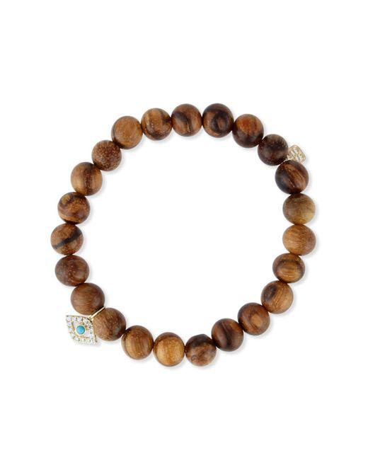 Sydney Evan - Brown Wooden Bead Bracelet W/ 14k Gold Diamond Evil Eye Charm - Lyst