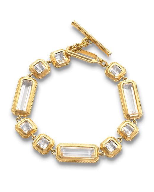 Monica Rich Kosann - Metallic Yellow Gold Crystal Mosaic Bracelet - Lyst