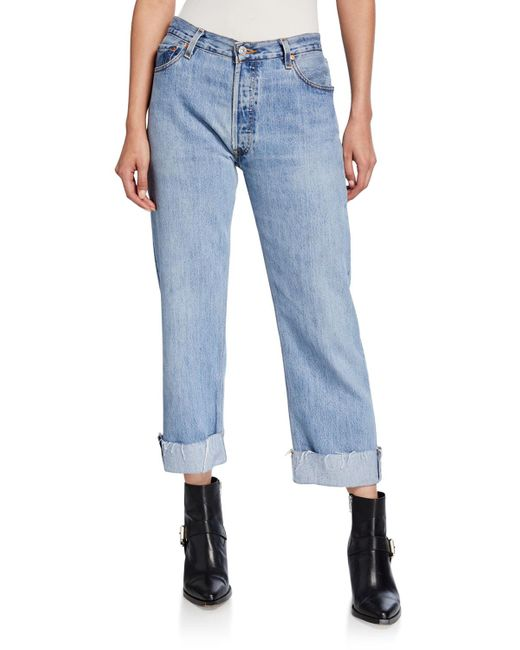 Re/done Blue 90s Loose Straight-leg Cuffed Jeans