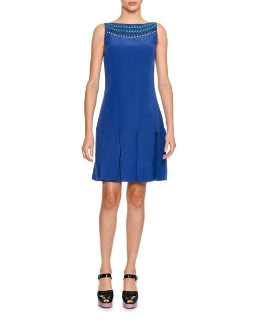 Tomas Maier - Blue Sleeveless Grommet-trim Silk Dress - Lyst