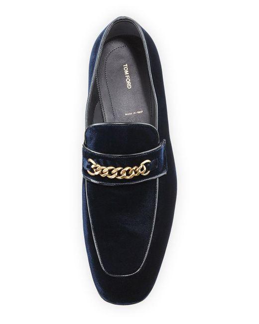 c5ec87c02bb ... Tom Ford - Blue Velvet Chain-link Loafer for Men - Lyst ...