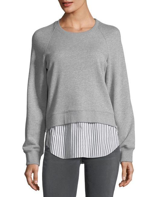 10 Crosby Derek Lam   Gray Crewneck Raglan Sweatshirt With Striped Shirt Hem   Lyst