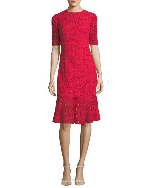 Carolina Herrera | Elbow-sleeve Lace Flared-hem Cocktail Dress | Lyst