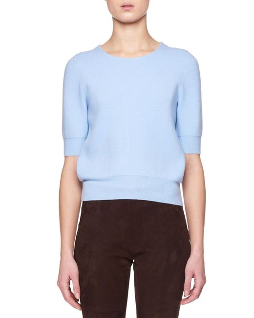 The Row - Blue Lorin Crewneck Short-sleeve Wool-cashmere Sweater - Lyst