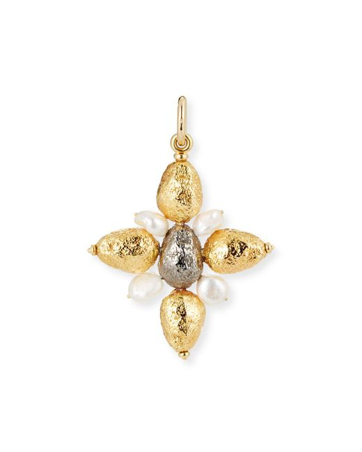 Grazia And Marica Vozza | Metallic Yellow Golden Cross Nugget Charm With Pearls | Lyst