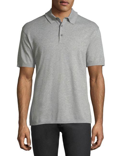 Ermenegildo Zegna - Gray Cotton Pique Polo Shirt for Men - Lyst