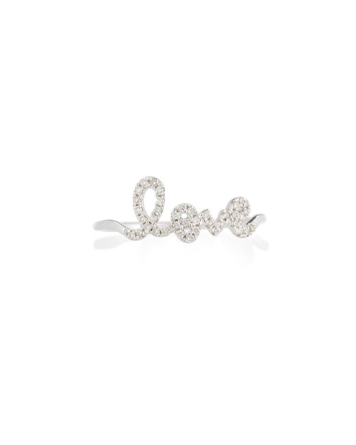 Sydney Evan Multicolor 14k White Gold Diamond Love Script Ring