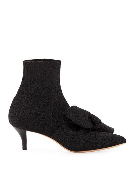2abf9dd23b8f ... Loeffler Randall - Black Kassidy Stretch Kitten-heel Booties With Bow -  Lyst ...