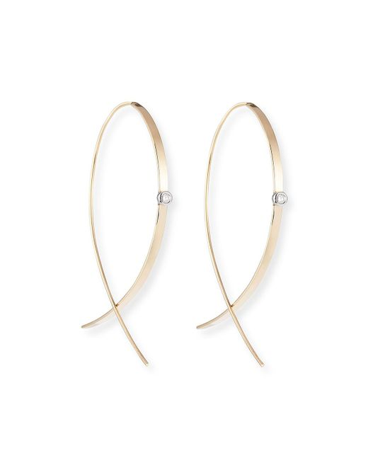 Lana Jewelry - Metallic Small Flat Diamond Hoop Earrings - Lyst