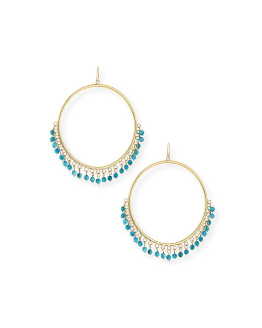 Ashley Pittman - Blue Mnara Bronze Hoop Earrings W/ Turquoise Dangles - Lyst