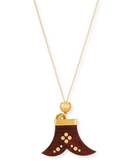 Chloé | Brown Janis Wooden Pendant Necklace | Lyst